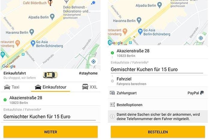 "Screenshot Taxi-App ""Einkaufstour"""