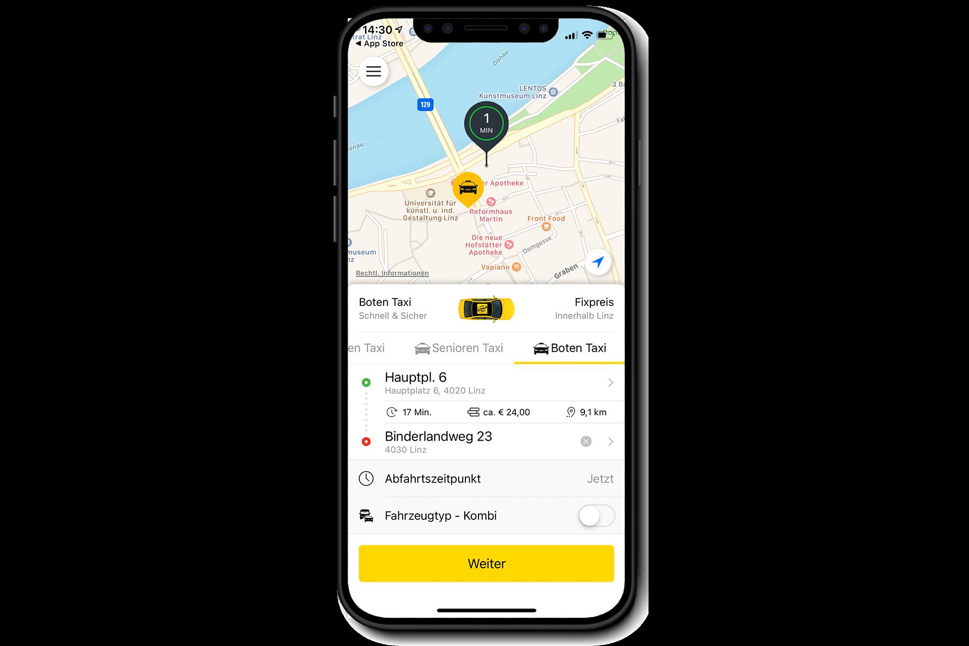 Bild: Smartphone mit Boten-Taxi